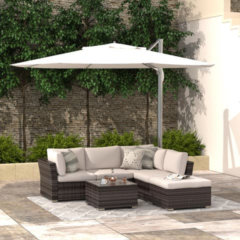 4-Piece Patio Conversation Set Outdoor Furniture Sectional Sofa All Weather Wicker Couch Set