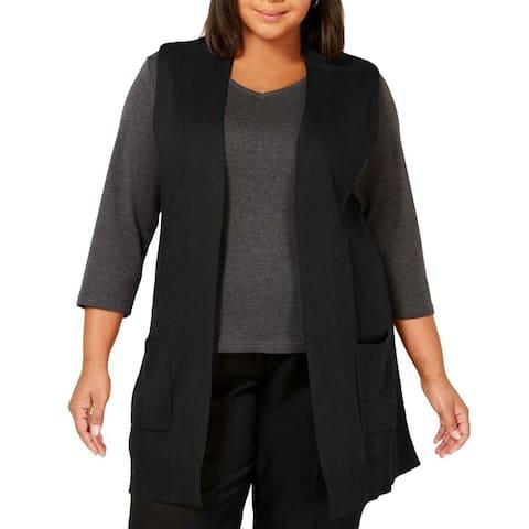 Karen Scott Womens Sweater Black Size 2X Plus Vest Open Front Ribbed