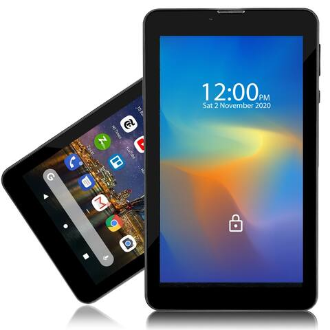 Indigi® 4G LTE GSM UNLOCKED SmartTablet & Phone, 7-inch (2SIM + QuadCore CPU, 2GB RAM/16GB ROM + Expandable up to 512GB) Black