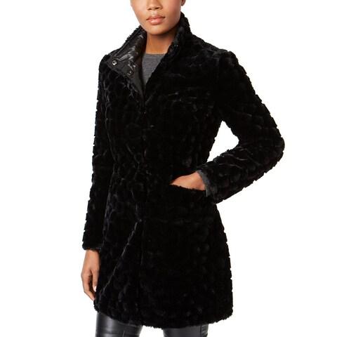 Via Spiga Reversible Faux Fur Coat Black