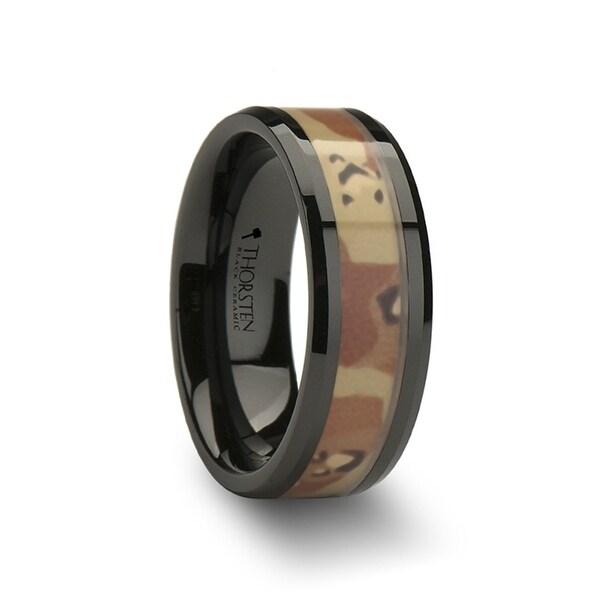 THORSTEN - FOX Beveled Black Ceramic Ring with Real Military Style Desert Camo