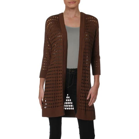 Kasper Womens Cardigan Sweater Open Stitch 3/4 Sleeves - M