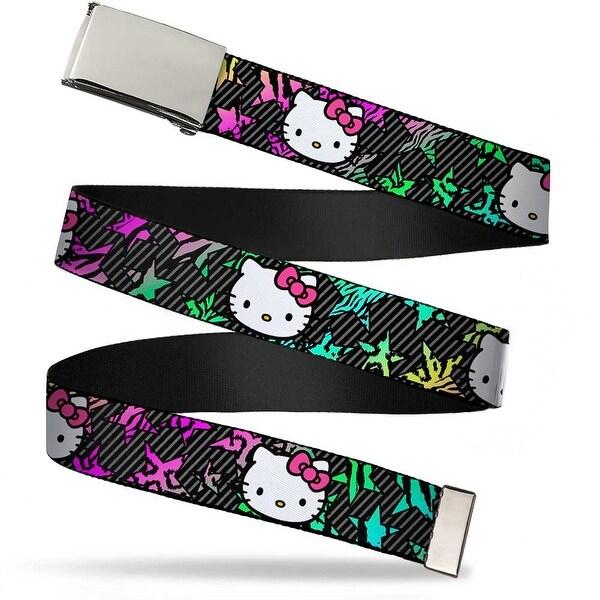 Blank Chrome Bo Buckle Hello Kitty Face Pink Bow Stars & Stripes Black Web Belt