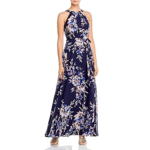 Eliza J Womens Maxi Dress Floral Pleated - Navy
