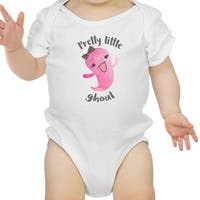 Pretty Little Ghoul Cute White Baby Bodysuit For Baby Girl Halloween