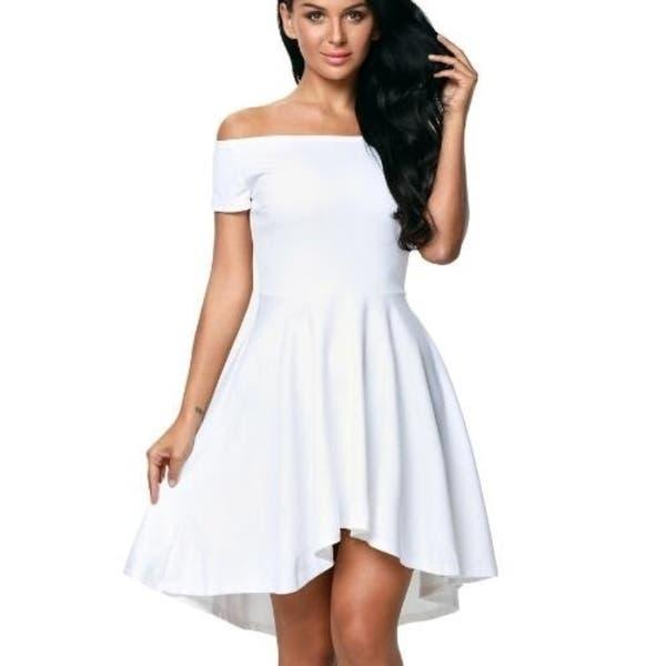 bc3d55d585337 Shop Off The Shoulder Short Sleeve High Low Cocktail Skater Dress ...