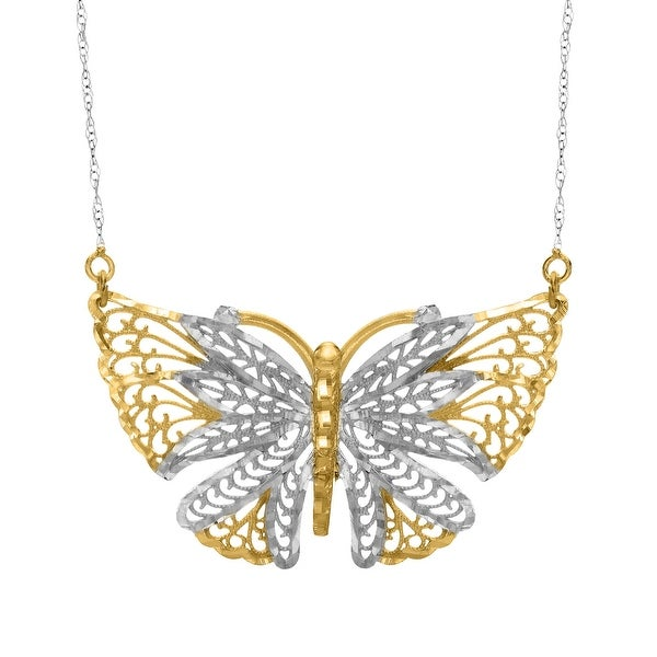 Just Gold Openwork Butterfly Necklace in 10K Two-Tone Gold