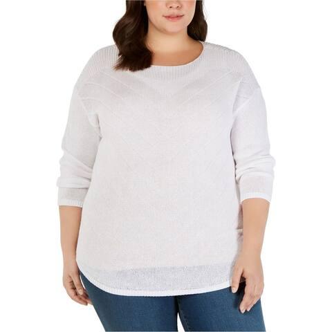 I-N-C Womens Pointelle Tunic Sweater