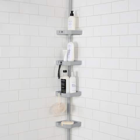 Bath Bliss 4 Tier Tension Corner Shower Organizer Caddy in Grey