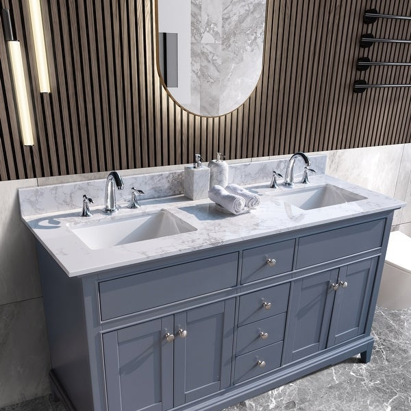 Global Pronex 61-inch Bathroom Stone Vanity Top with Double Rectangle undermount ceramic sink, White/Widespread. Opens flyout.