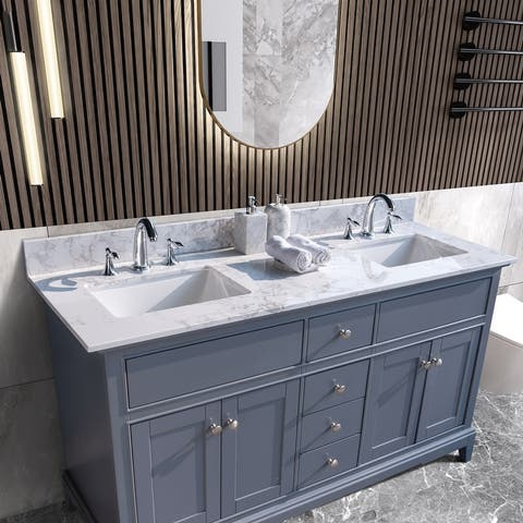TiramisuBest 61''x22''bathroom vanity tops with sink and back splash