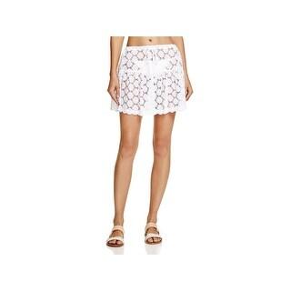J Valdi Womens Lace Drawstring Skirt Swim Cover-Up