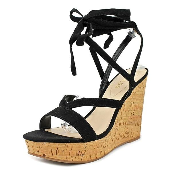 9ee0de81af08 Shop Guess Treacy Women Open Toe Canvas Black Wedge Sandal - Free ...