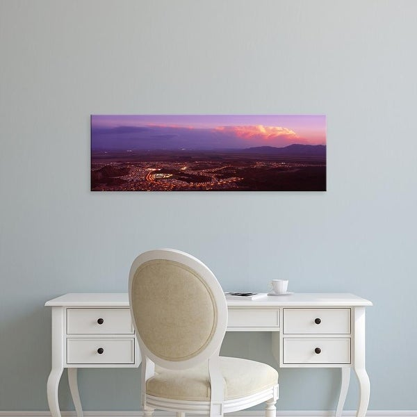 Easy Art Prints Panoramic Image 'Aerial view of a city lit up at sunset, Phoenix, Maricopa County, Arizona' Canvas Art