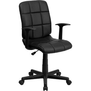 Aberdeen Mid-Back Black Quilted Vinyl Swivel Home/Office Task Chair w/Arms