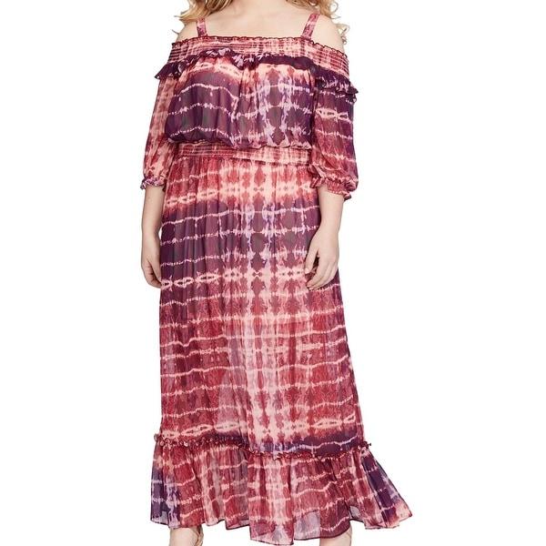 Jessica Simpson Purple Womens Size 1X Plus Cold Shoulder Maxi Dress