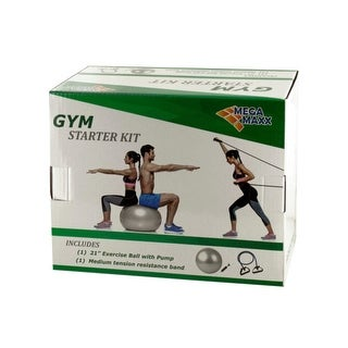 Gym Starter Kit with Exercise Ball, Pump & Resistance Band - Pack of 3