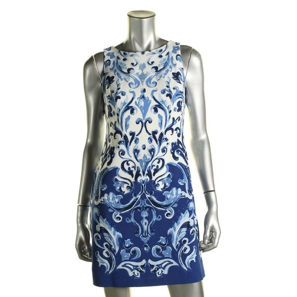 Lauren Ralph Lauren Womens Petites Cocktail Dress Printed Sleeveless