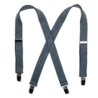 CTM® Kids' Elastic 1 Inch Wide Clip-End Dark Denim Suspenders