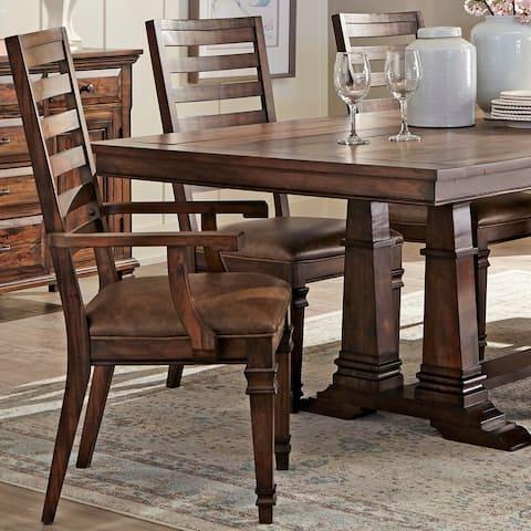 Modern Farmhouse Mahogany Wood Dining Arm Chairs (Set of 2)