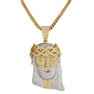 Gold Tone Iced Out Lab Diamond Jesus Piece Chain Necklace