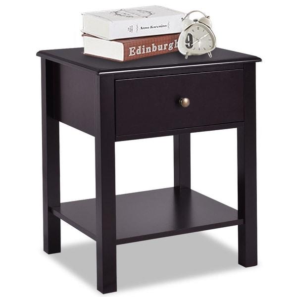 Costway End Table Nightstand Storage Display Furniture Drawer Shelf Beside Brown