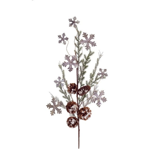 "28"" Subtle Colored Artificial Christmas Cedar Spray with Snowflakes and Pine Cones - green"