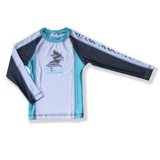 Azul Baby Girls Aqua Grey Long Sleeve Solid Combo UPF 50+ Rash Guard - 24 months