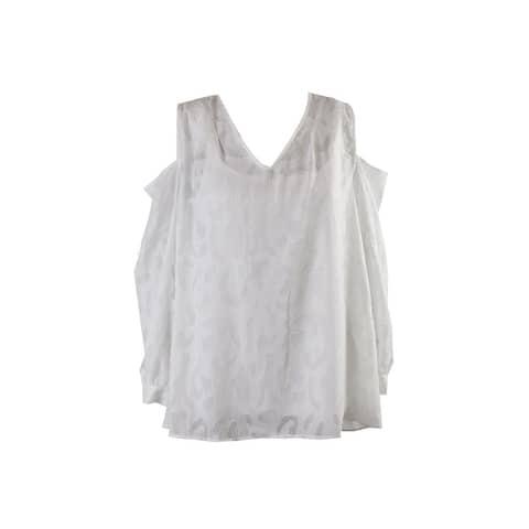 Alfani White Cold-Shoulder Peasant Blouse 4