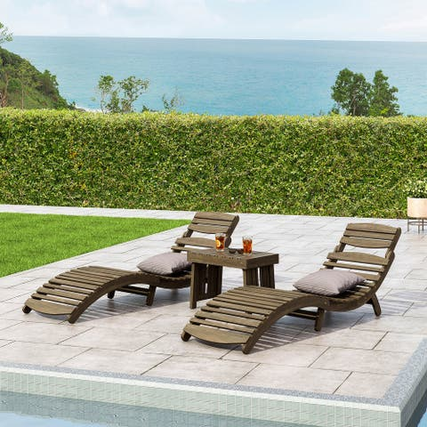 Lahaina Outdoor Acacia Wood 3 Piece Chaise Lounge Set by Christopher Knight Home