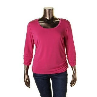 NY Collection Womens Pullover Top Ruched 3/4 Sleeves