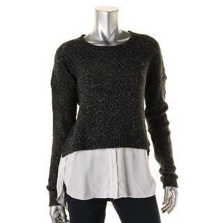 Aqua Womens Crop Sweater Mixed Media Crew Neck