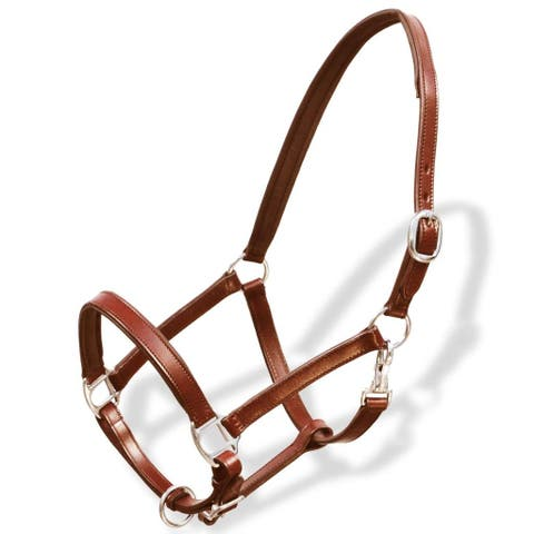 vidaXL Horse Head Collar Real Leather Adjustable Brown Pony Stable Halter
