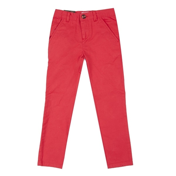 Richie House Baby Boys Red Classic Bright Belted Pants 24M