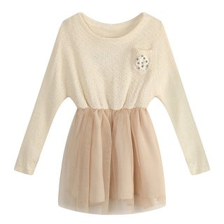 Richie House Girls' Dress with flower and beads