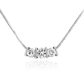 Bling Jewelry Bar Set CZ Past Present Future Slider Pendant Rhodium Plated Necklace 16.5 Inches