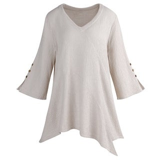 Women's Textured Tunic Top - Off-White 3/4 Sleeve Blouse with Asymmetrical Hem V-Neckline