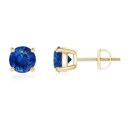 4 Prong Set Basket Round Blue Sapphire Stud Earrings