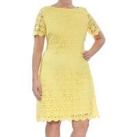 Jessica Howard Yellow Women's Size 10 Floral Lace Sheath Dress
