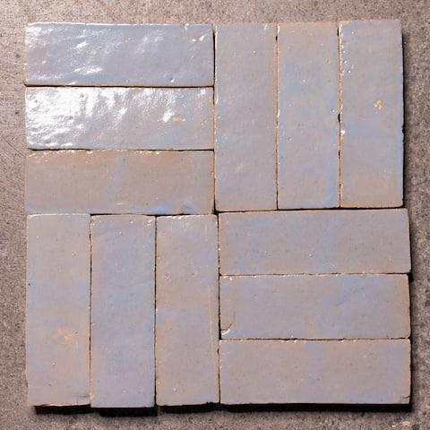 Moroccan Handmade 2in.x 6in. Solid Color Zellige Tile Sky Bloom