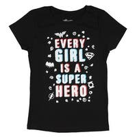 DC Super Hero Girls Every Girl A Super Hero Glitter Logos And Script Shirt