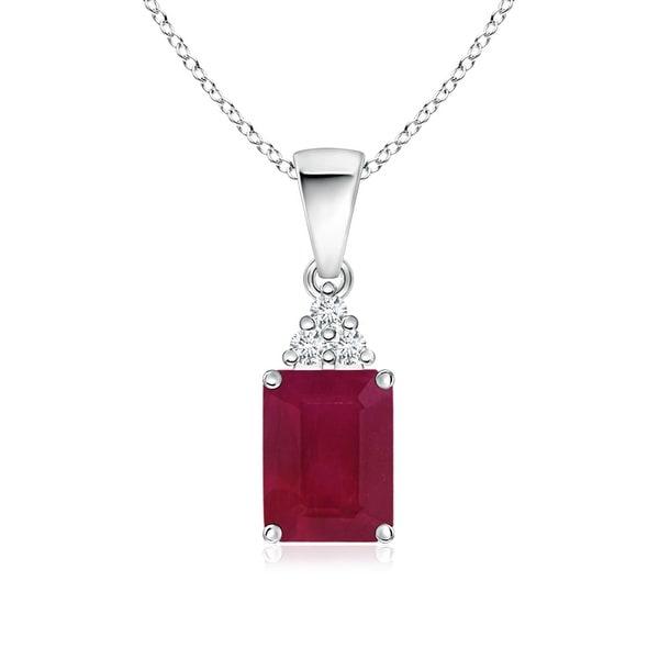Angara Flat Prong-Set Ruby and Diamond Cross Pendant WGIPhrnks