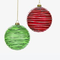 Pack of 6 Transparent Red and Green Glitter Swirled Glass Ball Christmas Ornaments 4""