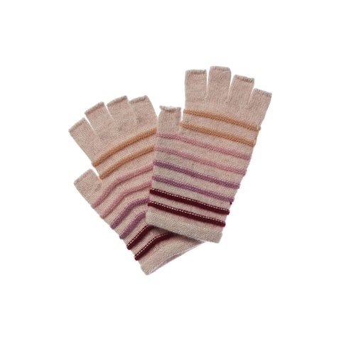 Qi Cashmere Striped Fingerless Glove