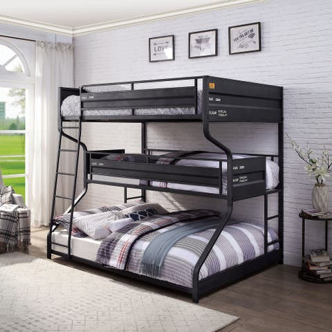 Furniture of America Stelle Black Full over Twin over Queen Bunk Bed