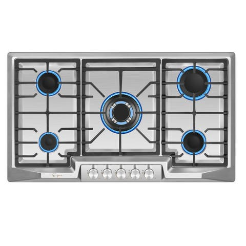 "Empava 36"" Recessed Gas Stove Cooktop with 5 Italy SABAF Sealed Burner NG/LPG Convertible in Stainless Steel"