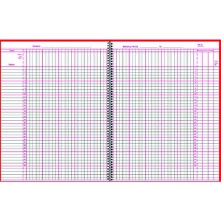 Scholastic Teaching Resource Wirebound Instructor Class Record Book for Grades K - 6, 8-1/2 X 11 in, 64 Sheets, 4 - 10 Week