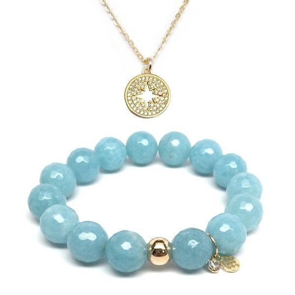 Light Blue Quartz Bracelet & CZ Starburst Gold Charm Necklace Set