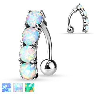 Vertical Drop Top Down Synthetic Opal Set 316L Surgical Steel Navel Ring