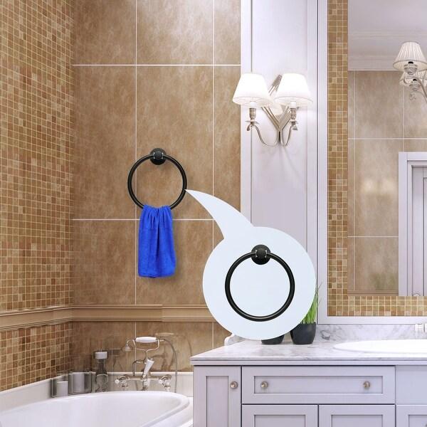 Wall Mount Towel Ring Holder Kitchen Bathroom Storage Organizer Rack Hanger d